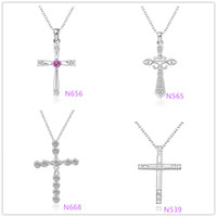 Wholesale Fashion Christmas Gift Silver Cross Pendant Necklace fashion Zircon Necklace Fit mm Link Chain jewelry