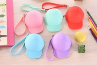 baseball cap bag - Cute cartoon candy color baseball cap coin bag mini hat key silica gel female change hand bag gift DHL
