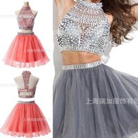 beautiful girls in skirts - In Stock Two Pieces Cheaper Hot Selling High Neck Back School Dresses Cocktail Gowns Beaded Beautiful Tulle Skirts Girl Homecoming Dresses
