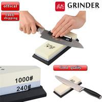 Wholesale GRINDER Double Side Grit Professional Knife Sharpener Sharpening Grinding Stone Whetstone Household Knife Sharpener lt no tracking