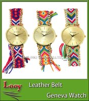 acrylic fabric - 2016 New Arrival GENEVA Handmade knitting thread Rope Bracelet Watches Women Braided Colorful Quartz Casual Wristwatch