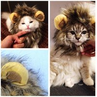 Wholesale Pet Costume Furry Pet Hat Costume Lion Mane Wig For Cat Halloween Dress Up With Ears Party PET_10B