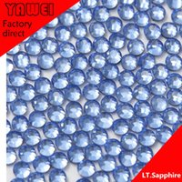 Wholesale LT sapphire crystal Hot drilling Rhinestones Flatback Round gross in a Nail Art Hot Fix Shoes Rhinestones