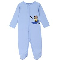 animal footie pajamas - Light Blue Unisex Embroidery Boating Monkey Cotton Baby Footie Pajamas Openable One Piece Sleepwear for Baby Boy Baby Girl