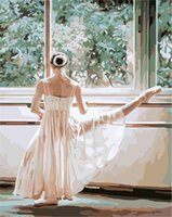 ballet oil paintings - Fashion X50cm Frameless DIY Digital Oil Canvas Painting Ballet Training Numbers Kits with Pigment Home Decor Wall Decor