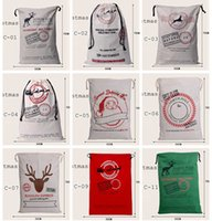 christmas bag - 2016 new popular Christmas Large Canvas Bags styles for choose Santa Claus Drawstring Bags With Reindeers cotton Christmas Gift Sack Bags