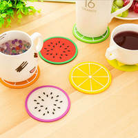 bamboo silica - New Household Colorful Jelly Color Fruit Shape Coasters Creative Skid Insulation Cute Silica Gel Cup Mat CM XH05101