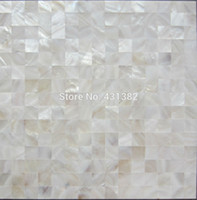 bathroom tiles mosaic - HYRX shell mosaic natural white color Mother of Pearl Tiles flat surface kitchen backsplash tile bathroom wall flooring tiles