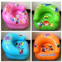kids plastic chair - Kids PVC Inflatable Sofa Children Playroom Cartoon Couch Chair Seats Inflatable Air Sofa Minnie Angry bird Cartoon Thicken Seat LJJK443