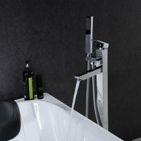 Wholesale PHASAT New Chrome Floor Standing Bathtub Faucet With Hand Shower Chrome Brass Fixed Support Type