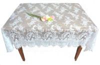 lace tablecloth - 130 cm Oblong Lace Jacquard Wedding Tablecloths Party Home Decor Washable Vintage Kitchen Dining Table Cloths Floral Textiles Decoration