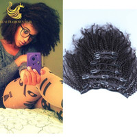 virgin brazilian hair clip in - Brazilian Afro Kinky Curly Clip In Human Hair Extensions Mongolian Virgin Human Hair African American Clip In Extensions quot quot Clip Ins