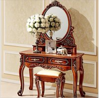 Solid Wood antique mirror dressing table - European mirror table antique bedroom dresser French furniture french dressing table pfy800