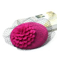 Wholesale The high end Vintage Lady Elegant gauze small formal hat bridal hat Winter wool hat evening dinner hat