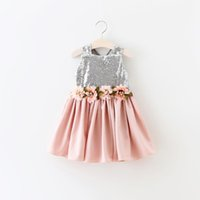 bb boat - Hug Me Girls Lace Tutu Dress Kids Clothes New Summer Sleeveless Vest Sequins Flower Tutu Dress BB