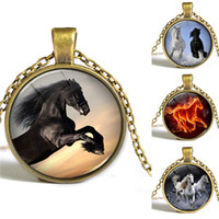 asian arts - Horse pendant Necklace Equestrian Jewelry Nature Animal Art picture Glass Cabochon Necklace Chirstmas gift for women and me