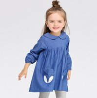 active denim - kids long sleeve dresses Baby clothes christmas Girls Fox Dot Cartoon Dress Denim Cotton Winter Casual Dress Children Princess Dresses