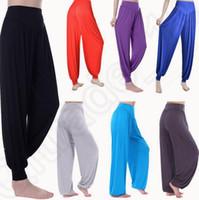 belly dance pants plus size - 16 color LJJK355 Women Harem Dance Yoga Loose Pants Trousers Baggy Jumpsuit Boho Baggy Wide Trousers Belly Dance harem pants