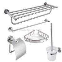 Wholesale Stainless Steel Piece Bathroom Accessories Kit Brushed Hardware Set Towel Rack Towel Bar Wall Shelf Toilet Paper Toilet Brush