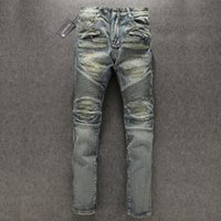 Wholesale Balmain destroyed Biker Jeans skinny slim famous brand designer motor biker denim Distrressed jeans man jeans