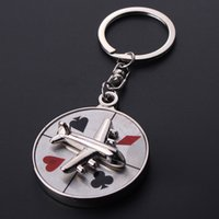 aircraft logos - 10pcs fashion chip Poker logo key ring alloy Rotary aircraft compass keychain for women men K0001