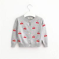 Wholesale Hug Me Baby Girls Kitty Sweater Button Cardigan Stripe V Neck New Autumn Winter Warm Sweater AA