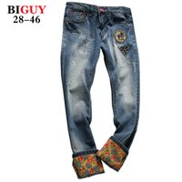 big guy fashion - Big Guy Store Large Plus Size Scratched Mens Patch Jeans Men Baggy Jeans Denim Printed Straight Pants jeans