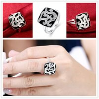 baked band - Mix size pieces silver Square baking ring GSSR675 Factory direct sale brand new fashion sterling silver finger ring
