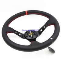 Wholesale quot OMP Steering Wheel Genuine Leather Deep Dish OMP Leather Steering Wheel Red Stitch with Carbon Fiber Cover
