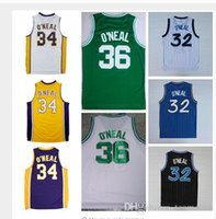 Wholesale New Shaquille O Neal Jersey Throwback Black White Blue Green Yellow Purple Shaquille O Neal ONeal Jerseys Shirt