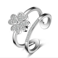 Wholesale 2016 NEW Sterling Silver Open Rings with Crystal Four Leaf Clover Heart Flower Finger Rings for women Girl