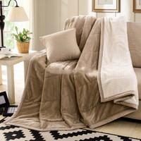 achat en gros de reine épaisse couverture-King Size molleton couverture sur le lit / canapé épaisses couvertures d'hiver Super Soft Blanket peluche chaud flanelle Roi / Reine Livraison gratuite
