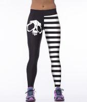 activewear clothing - YIWU LAIMAI White Stripe Lines Black Skull Yoga pants Full length Activewear Clothes