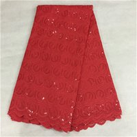 Wholesale Fashion ladies dress material Swiss voile cloth embroidery African cotton lace fabric yards pc