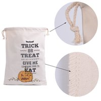 Wholesale 2016 newest Halloween Large Canvas bags cotton Drawstring Bag With Pumpkin devil spider Hallowmas Gifts Sack Bags styles