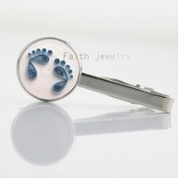baby clip art - Exquisite Baby Feet Photo Gift for Mom Art Glass Cabochon keepsake tie clip for women NS520