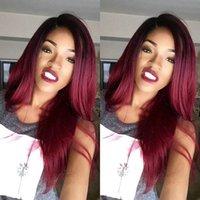 Cheap 1bT99j Ombre Human Hair Full Lace Wig Straight Burgundy Two Tone 1B 99J Glueless Lace Front Full Lace Wigs Ombre Virgin Hair Wig