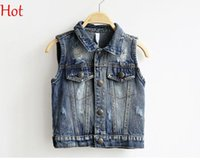 Wholesale Qualtiy Baby Waistcoat Boys Girl Denim Vests New Autumn Sleeveless Ripped Waistcoat Button Fashion Emoji Smile Jeans Vest Tops SV015052