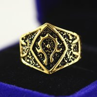 band video games - Fashion movie jewelry Horde Alliance badge jewelry trade rings video game peripheral ring Boys Cool Gothic Punk WOW Alliance