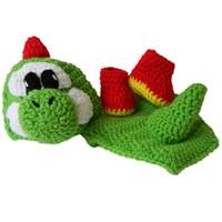 Wholesale Newborn Green Yoshi Costume Handmade Knit Crochet Baby Boy Girl Cartoon Game Yoshi Hat Diaper Cover Booties Set Infant Toddler Photo Prop