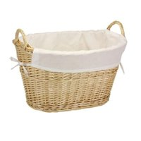 Wholesale Household Essentials Natural Willow Lined Laundry Basket Handles