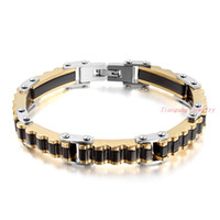 bicycle chain length - 21 CM Length Fashion Jewelry Stainless Steel Bracelet Men Biker Bicycle Motorcycle Chain New Gold Black Mens Bracelets Bangles