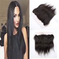 Wholesale Cheap Ear Ear Brazilian Lace Frontal Closure x4 Natural Wave bleached knots baby hair frontal closure lace frontal closure swiss lace