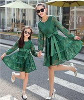 Wholesale 2016 summer dress Brand New Girl Casual Long Sleeve lace striped mother and daughter dress Family matching clothes girls dress
