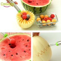 Wholesale Dual Function Stainless Steel Fruit Salad Scoop Spoon Baller Melon Carving Cutter