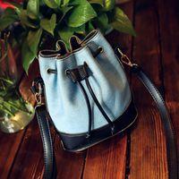 Wholesale 2017 bucket bag color stitching jeans Canvas Shoulder Messenger Bag