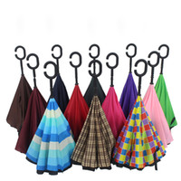 Wholesale New creative inverted umbrella Double layer long handle sunny and rainy umbrella C shape handle Many colors available Drop shipping
