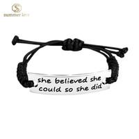 amazon men - 2016 New good quality silver IDl inspirational bracelets jewelry women and men Amazon hot sell black rope handmade