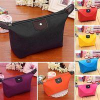 Wholesale 2016 Cosmetic Bags Makeup Bag Women s Lady Travel Makeup Bags Dumpling type Bag Pouch Clutch Handbag Casual Coin Purses Wallet Case