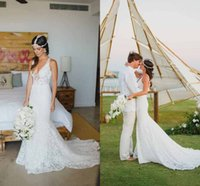 Wholesale Bohemian Style Full Lace Deep V Neck Mermaid Wedding Dresses Cheap Sexy Backless Court Train Bridal Gowns Garden Beach Boho Gowns